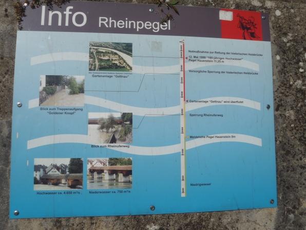Panel informativo sobre las crecidas del río, algunas ocasiones con inundaciones